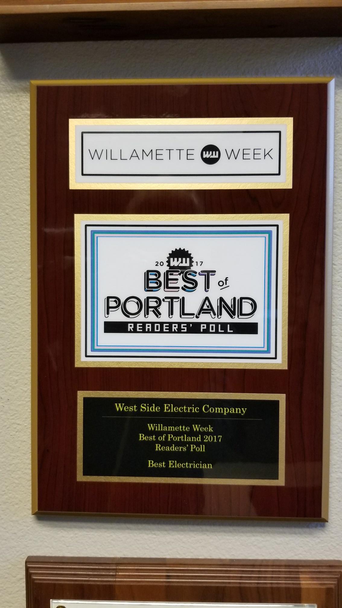 West Side Electric Wins Willamette Week's Readers' Poll